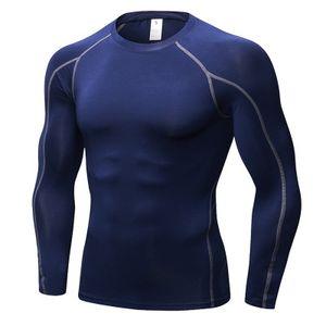 Fitness Bodybuilding sportivo Super Elastic colore Sport solido top in esecuzione stretta t-shirt maniche lunghe SexeMara Uomo