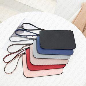 with Lanyard credit card bags Wallet Purses Designer PU Leather Wristlet Zipper Clutch Bag Credit Card Holder Slot Coin Purse Handbag D7212