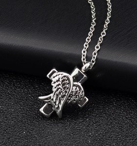 DHL Angle Wings Cross Cremation Jewelry Silver Cremation Urn Necklace Pendant Memorial Keepsake Necklace Locket Jewelry ny