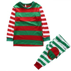 2018 Multitrust Marka Aile Eşleştirme Kıyafetler Giyim Noel Yılbaşı Çocuk Yetişkin Pijama Takımı Çizgili pijamalar Gecelik Kostüm