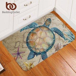 BeddingOutlet Tortoise Carpet Nautical Non-slip Soft Rug Sea Turtle Floor Mat Absorbent Marine Animal Doormat For Bedroom 50x80 Y200527