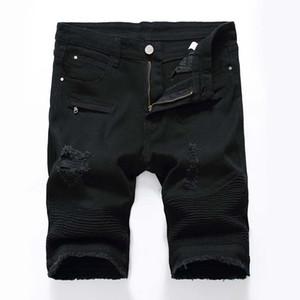 Moda-Mens calça jeans Shorts Motociclista biker jeans Rock Revival Calças Curtas Skinny Magro Rasgado buraco dos homens Denim Shorts homens Designer de calça jeans