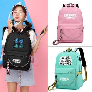 Estranho Coisas Backpack por Mulheres coreano simples Colégio Vento Viagem Casual grande capacidade saco de escola Mochilas de carregamento USB