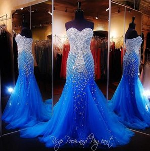 Royal Blue Mermaid Prom Dress 2019 Luxury Sweetheart Sparkly Crystal Beading Sweep Train Tulle Evening Dresses Women Formal Pageant Gowns