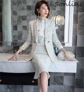 Yüksek Kalite Kumaş Biçimsel Kadınlar İş Blazers ve Fishtail Etek Sonbahar Kış Bayan Büro Work Wear Seti ile Suits