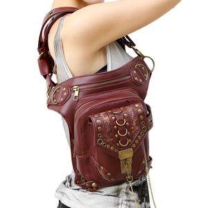 Steampunk Belt Bag Waist Leg Hip Holster Purse Pouch Packs Motorcycle Bag Vintage Red Shoulder Bag Cross Body Bags Purse Leather Wallets