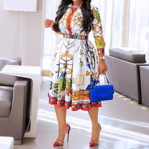 Осень Осень отворотом Mid-теленок высокой талией платье большой плюс размер Геометрический отпечатанных Элегантный офис дамы мундир Гофрированный Midi платье