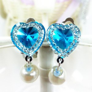 Crystal Hear Shape Princess Ear Clip Safe Ear Clip Korean Trendy Kid Children No Piercing Earring Girls Birthday Gift
