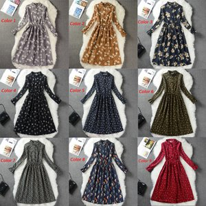 Corduroy High Elastic Waist Vintage A-line Style Women Full Sleeve Flower Plaid Print Dresses Slim Spring Dress 25 Colors MX200506