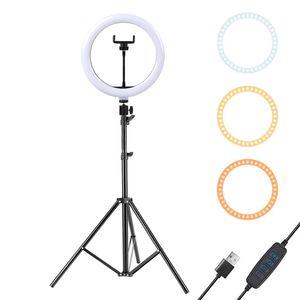 10-дюймовый светодиодный кольцевой свет с 160см штатив для сотового телефона Мини Светодиодная камера Ринглайн для видеофотографирования Makeup YouTube Bloggers
