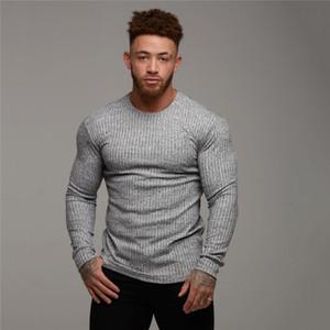 2019 camiseta de Otoño hombres de la moda del suéter del O-Cuello Slim Fit Knittwear manga larga para hombre con capucha camisetas hombres de la aptitud Tire Homme