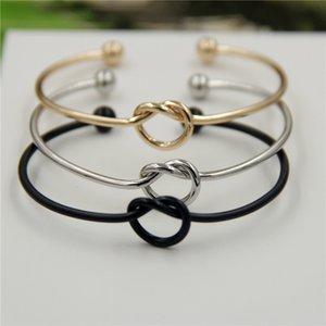 Neue Silber Gold Ton Kupfer Erweiterbar Open Wire Armreifen für Liebe Knoten Armreifen Hochzeit Manschette Armbänder