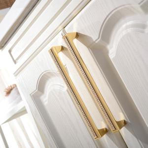 Luxe tiroirs Poignées Armoire de portes d'armoires en cristal tchèque Pull 24K ou Chrome Homeware Furniture Poignée 22-01