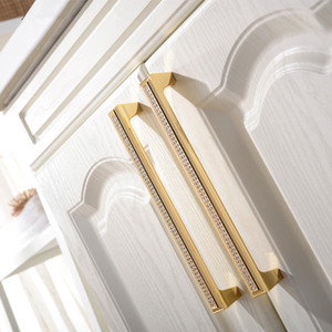 Luxury Drawer Cabinet Handles Wardrobe Cupboard Door Pull Czech Crystal 24K Gold or Chrome Homeware Furniture Handle 22-01