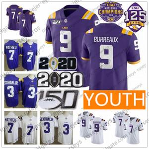 Jeunes LSU Tigers # 9 BURREAUX Joe Burrow 3 Odell Beckham Jr. 7 Tyrann Mathieu Collège Grant Delpit Violet Blanc 2020 Hommes Enfant Jersey