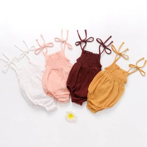 Kız Bandaj Lanter Romper Yaz Katı Üçgen Bandaj Bow-kravat Rompers Bebek Kız Romper Bebek Bebek Kız Boş Giyim 12M-3T
