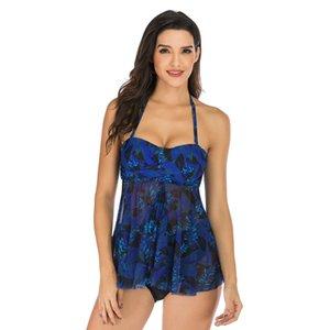 Beeachgirl elegante conservatore Swimwear anteriore Croce Mesh due pezzi femminile sexy Floral Tankini per le donne