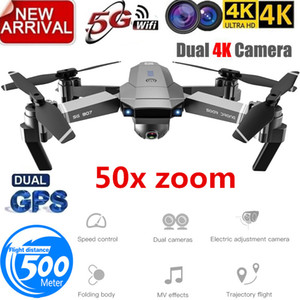 Profession GPS Drone with 4K HD Dual Camera Wide Angle Anti-shake Double GPS WIFI FPV RC Quadcopter FoldableFollow Me T191016