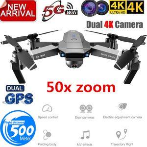 Professione GPS Drone con 4K HD doppia fotocamera grandangolare Anti-shake doppio GPS WIFI FPV RC Quadcopter FoldableFollow Me T191016