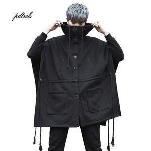 Guo Chao-Tang 2019 Invierno Caliente inconformista Hip-hop sólido Escudo mangas de color flojo grueso encapuchado Streetwear Abrigo envío de la gota