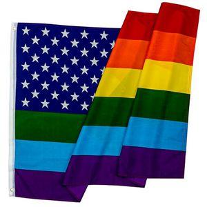 Флаги партии американский флаг радуги полиэстер баннер красочные украшения износостойкие творческие флаги Моды инструменты 90 * 150 см RRA1547