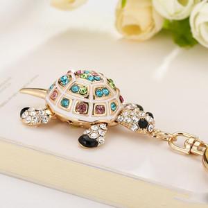 regalo de la tortuga del cristal Llaveros Llaveros precioso tortugas bolsa colgante para la llave del coche Anillos encadena el tenedor