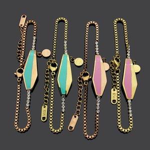 2020 joyas de diseño letra T cadena gota verde caja del diamante del aceite de color rosa con brazalete de diamantes para las mujeres venta caliente pulsera