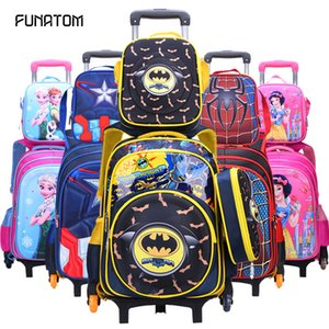 Kids Rolling School Bag 3pcs set Children Kids school bags With Wheel Trolley Luggage For boys Girls backpack