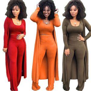 2019 New Spring Sexy Three Pieces Cappotto donna Short Top e Long Pants Abiti di moda Alta Qualirt maniche lunghe Cardigan Abiti da festa