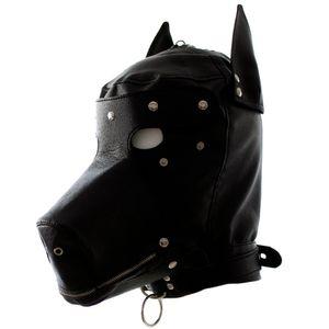Deri Fetiş Köpek Başlık Seksi Cosplay Hood Maske Baş Koşum Kölelik Restraint Yetişkin Sm Oyunu Kadın Erkek Eşcinsel Çift Y190716 Için Seks Oyuncak