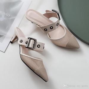 Commercio all'ingrosso Designer Bianco slingback maglia nera tacchi gattino Pompe sandalo Mocassini donna sandali tacco 5 centimetri US3.5-10.5