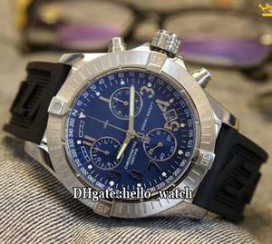 새로운 II 울프 크로노 다이버 프로 블루 A1338012 미요 타 쿼츠 크로노 그래프 남성 시계 스톱워치 블루 고무 스트랩 시계 Hello_watch 다이얼