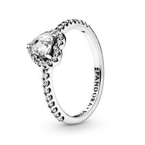 925 mariage en argent sterling Elevated Bague coeur Bijoux de luxe Designer Femmes CZ Pierres diamant Bagues de fiançailles avec Pandora Box originale