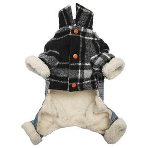 Pet Dog непогоду Пальто Рубашка Комбинезоны Джинсы Руно Плед Теплый Толстые Цельный куртка Cat