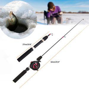 1 adet Açık Taşınabilir Mini Kış Buz Olta Balıkçılık Makaraları Combo Reel Tekerlek ile Olta