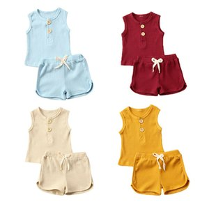 Pudcoco Baby Summer Clothes Newborn Toddler Kids Baby Girls Boys Clothes Sleeveless Top T-shirt Shorts 2pcs Outfit Set 4 Colors