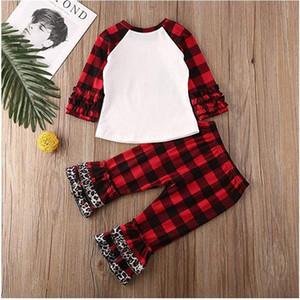 어린이 Charistmas 잠옷 운동복 아기 소녀 크리스마스 트리 T 셔츠 격자 무늬 레오파드 패치 워크 바지 2 개 PC를 의상 혼 소매 셔츠 정장 A110603