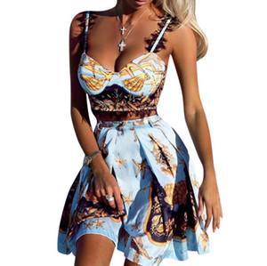 Два куска набор женщин без рукавов кружева вставка печать Cami Tops плиссированные юбки набор летних модных повседневных нарядов 2 шт.