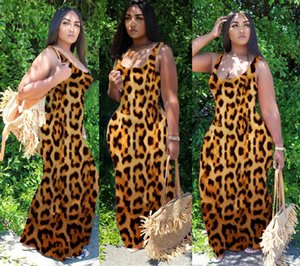 Womens Dresses Summer Casual Vacation Beach Long Dress Sexy Fashion Ladies Designer Clothing Leopard Sleeveless Loose