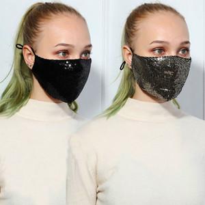 Le donne devono affrontare modo 3D lavabile riutilizzabile Maschera PM2.5 Viso Shield Gold Shiny Elbow paillettes luccicanti Mount copertura maschere antipolvere Bocca Mas