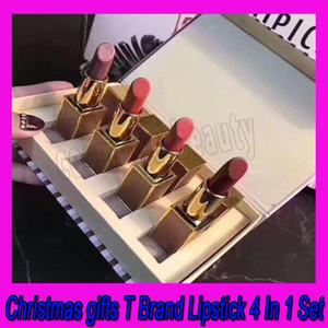 0,2019 Nouveau Maquillage T Marque cadeaux de Noël Matte Lipstick Cosmétiques Lèvres Rouge à lèvres 4color 4 en 1 Set