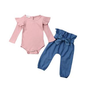 Sonbahar Yenidoğan Bebek Kız Giysileri Sinek Kollu Kollu Romper Pantolon 2 ADET Kıyafet Tops