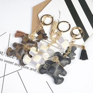 Nouveau mode Keychain style mignon Ours Faux cuir Tassel Simple Décor Sac Pendentif Accessoires Hanging clés de voiture cadeau Drop Shipping