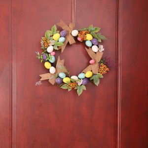 Home Decor Natural Rattan Wreath Easter Party Wreath Crafts Egg Decoration Cross Spring Wedding Wreath Door Wall Ornament L