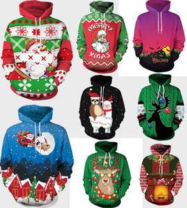 Nueva Navidad Navidad Disfraces temáticas para mujer Hoodies 3d patrón impreso muñeco de nieve del chándal unisex informal suéter Tops Chaquetas