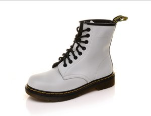 La venta caliente-Invierno hombre cuero de las mujeres botas Martens zapatos caliente para hombre de la motocicleta y de las mujeres tobillo de arranque Doc Martins otoño oxfords de los hombres del zapato