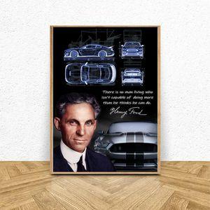 Генри Форд Арт Плакат, Холст Печатные Настенные Панно для Гостиной Декор