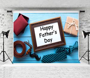 Rêve 7x5ft jour de père heureux fond bleu Cadeaux en bois Photographie fond pour les pères de fête de vacances Fond Shoot Studio Prop