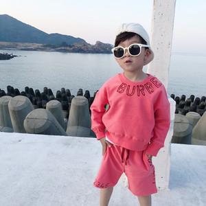 2PCS / مجموعة جديد الخريف الربيع رسالة نمط الصلبة اللون طفل رضيع عارضة البدلة ملابس الاطفال الرياضة الطفل مجموعة ملابس فتاة