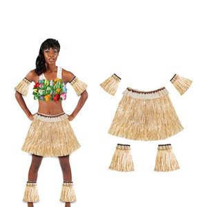 Suits Popular havaiano Grass Skirt 5pcs braço mangas Pés Covers Saias Fit Homens Mulheres Costume Party Elastic 15ck E1